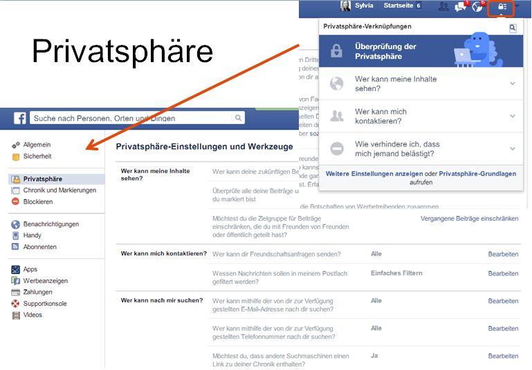 Privatsphäre auf FB einstellen (c) Sylvia Nickel