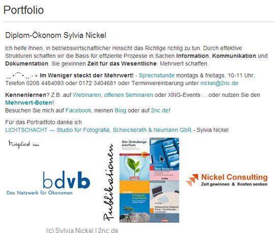 XING-Portfolio (c) Sylvia Nickel